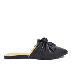 Women's Black Slide Pu Leather With Bow Detail